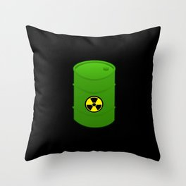 atomic waste barrel Throw Pillow