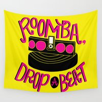 dj Wall Tapestries featuring DJ Roomba by Chelsea Herrick