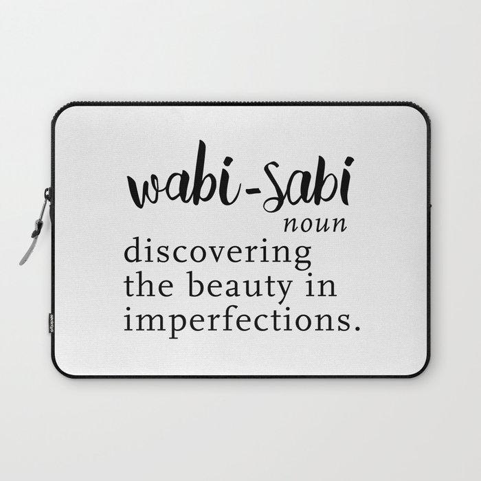 Wabi Sabi Word Nerd Definition Black Minimalist Laptop Sleeve By