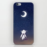 bunny iPhone & iPod Skins featuring Moon Bunny by Freeminds