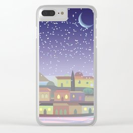 Snowing Village at Night (Square) Clear iPhone Case