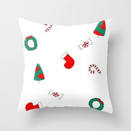 Winter Holiday Themed Illustration Merry Christmas! Throw Pillow