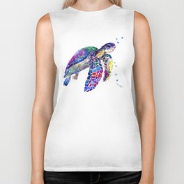 Sea Turtle Rainbow Colors, turtle design illustration artwork animals Biker Tank
