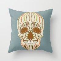 calavera Throw Pillows featuring CALAVERA by Nora