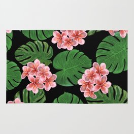Tropical Floral Print Black Rug