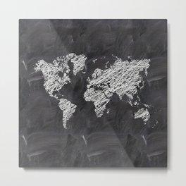 Scribble world map on chalkboard Metal Print