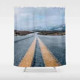 Yellow road mountain Shower Curtain