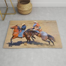 The Saddle Bronc and the Pickup Man - Rodeo Art Rug