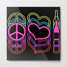 Peace Colorful Heart Beer Alcoholic Metal Print