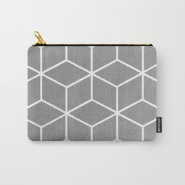 Light Grey and White - Geometric Textured Cube Design Carry-All Pouch