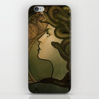 nouveau iPhone & iPod Skins featuring Medusa Nouveau by Megan Lara