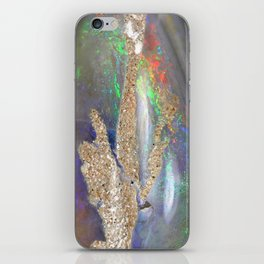 Stone opal iridescent holographic faux druse crystal quartz agate gem gemstone geode mineral photo iPhone Skin