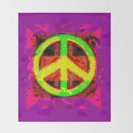 Peace Not War Pop Art Design Throw Blanket