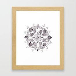 Cape Cod Mandala (black on white) Framed Art Print