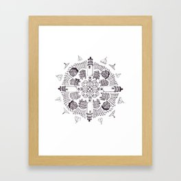 Cape Cod Mandala (black on white) Framed Art Print