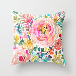 DON'T STRESS Colorful Floral Throw Pillow