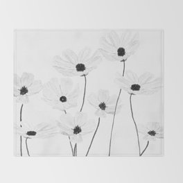 black and white cosmos Throw Blanket
