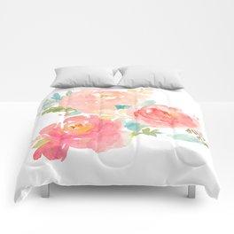 Watercolor Peonies Summer Bouquet Comforters