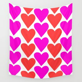 Pink and Red Hearts Wall Tapestry