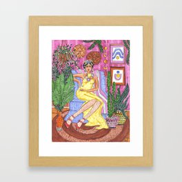 Me and my plants - Frida collection - Framed Art Print