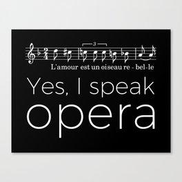 Yes, I speak opera (mezzo-soprano) Canvas Print