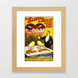 Vintage Circus Poster - Trained Pigs Framed Art Print