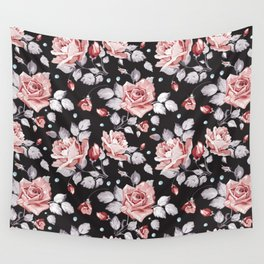 Vintage Pink Rose Flowers Wall Tapestry