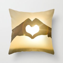 Hand Heart into the Sunset Throw Pillow