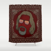 the dude Shower Curtains featuring Dude by DE.FE.