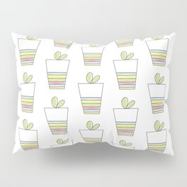Lovely Plant and Striped Pot Pillow Sham