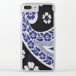 Black and Blue Tanzanian Fabric Clear iPhone Case