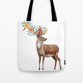 Boho Chic Deer With Flower Crown Tote Bag