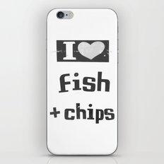 I ♥ Fish And Chips - Dark Gray iPhone & iPod Skin