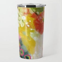 abstract floral art in yellow green and rose magenta colors Travel Mug