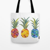 pineapples Tote Bags featuring Pineapples by Cat Coquillette