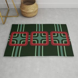 Geometric Pattern 69 (red & turquoise 1970s) Rug