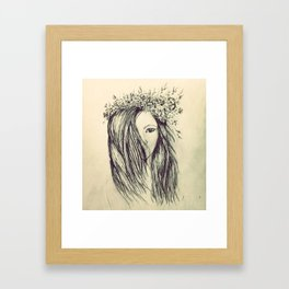 Girl with floral crown Framed Art Print
