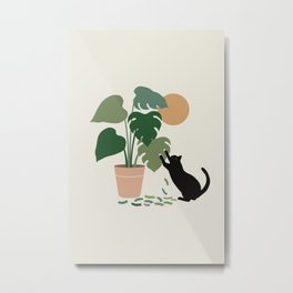 Cat and Plant 13: The Making of Monstera Metal Print