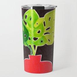 Monstera Leaves in Vase Travel Mug