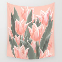 Stylish Peach Tulips Flowers Watercolor Illustration, coral pink color background. Boho style Wall Tapestry