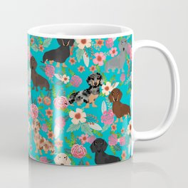 Dachshund dog breed floral pure breed weener dogs doxie dachsie must have Coffee Mug