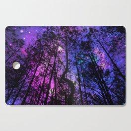 Black Trees Purple Fuchsia Blue space Cutting Board
