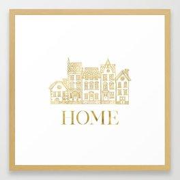 Home Gold Foil Framed Art Print