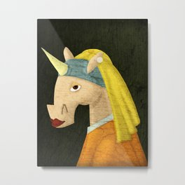 The Unicorn with the Pearl Earring Metal Print