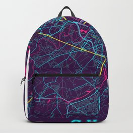 Ghent Neon City Map, Ghent Minimalist City Map Art Print Backpack