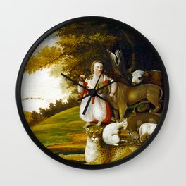 Edward Hicks A Peaceable Kingdom with Quakers Bearing Banners Wall Clock