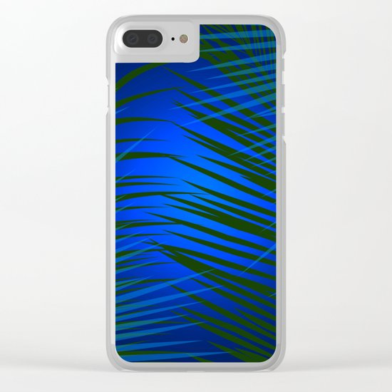 Tropical Palm in Dark Clear iPhone Case