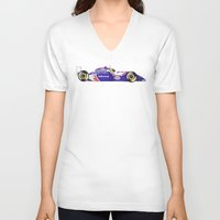 senna V-neck T-shirts featuring Senna by One Curious Chip
