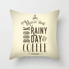 Coffee, book & rainy day II Throw Pillow