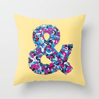 ampersand Throw Pillows featuring Ampersand by Mister Phil